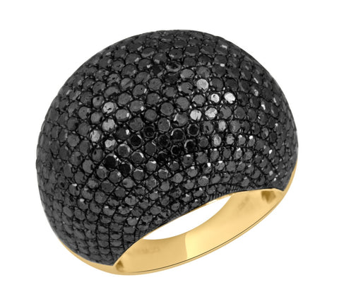 Grand Black Diamond Dome Ring