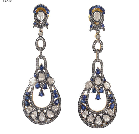 Diamond and Sapphire Estate Earrings