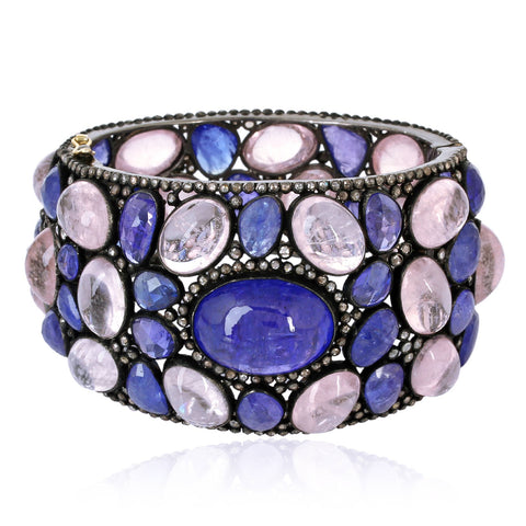 Tanzanite and Rose Quartz Bangle