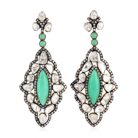 Astro Green Chrysoprase Diamond Earring