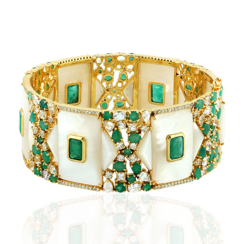 Diamond Emerald and Pearl Queens Bangle