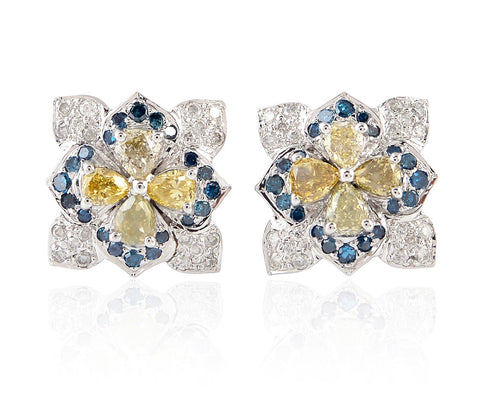 Diamond and Sapphire Flower Stud