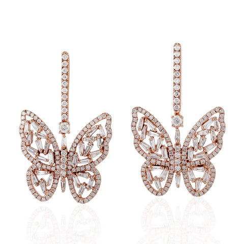 Rose Gold Diamond Butterfly Earrings