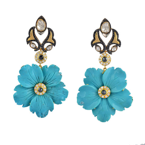 Carved Turquoise and  Flower Earring