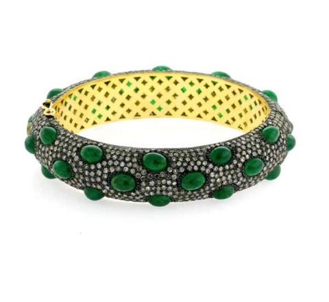 Emerald Cabochon and Pave Bangle