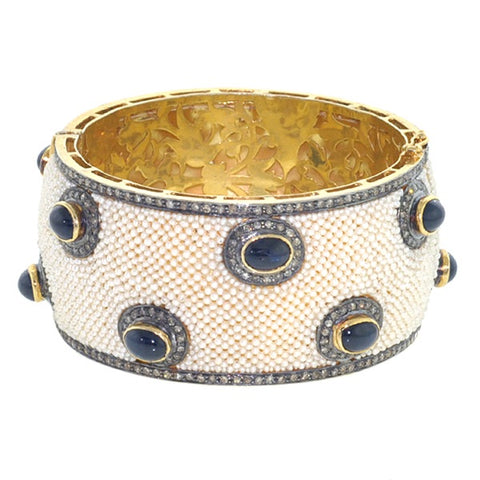 Pearl and Sapphire Sanju Bangle