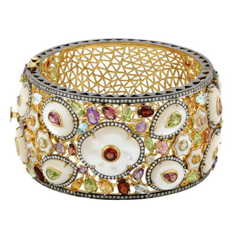 Splendid Spring Pearl and Sapphire Bangle