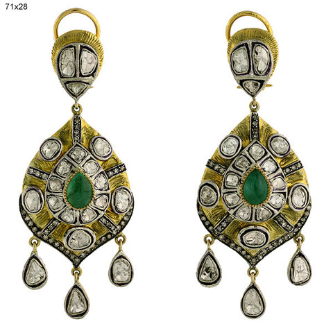 Diamond Gold and Emerald Taj Earring
