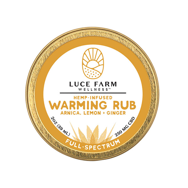 Hemp-Infused Warming Rub with Arnica, Lemon + Ginger | Luce Farm