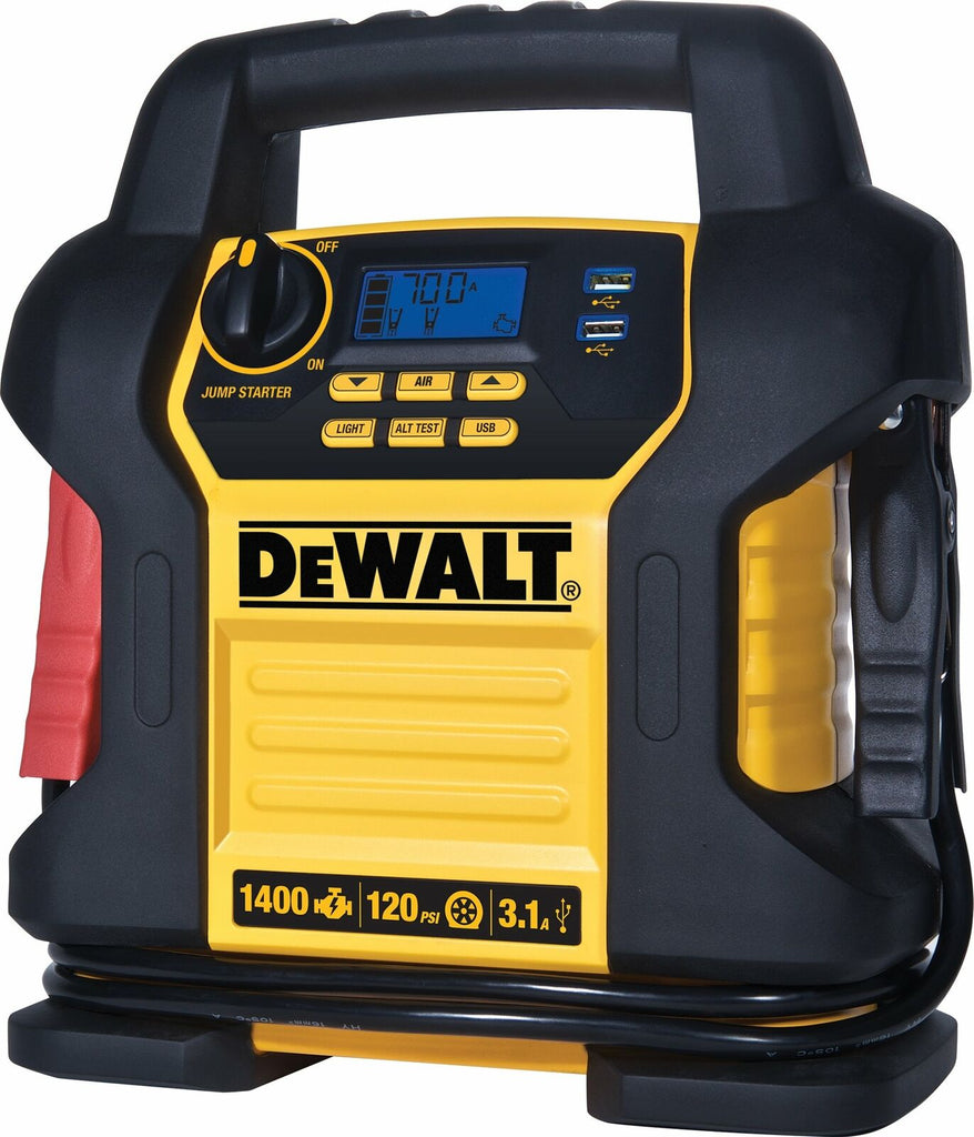 DEWALT DXAEJ14 Power Station Jump Starter: 1400 Peak/700 Instant Amps, 120 PSI Digital Air Compressor, 3.1A USB Ports, and Battery Clamps