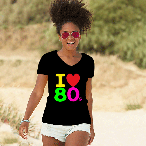 I love the 80's - woman's t-shirt retro 80's style