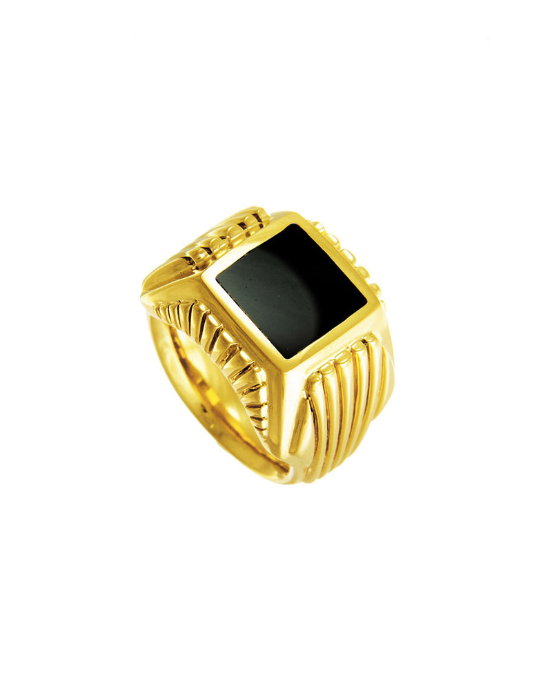 BOSTON Ring schwarzer Onyx gold
