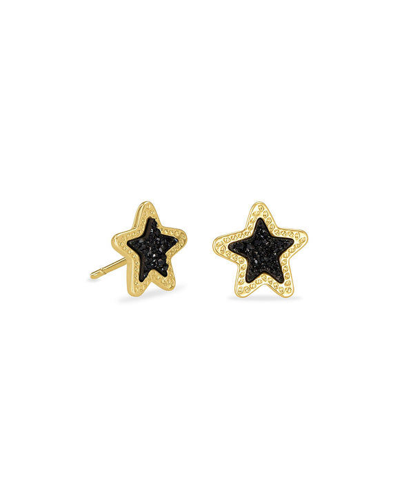 Jae Star Stud Earrings In Gold Black Drusy
