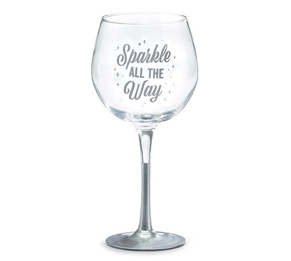 Sparkle All The Way Stemmed Wine Glass