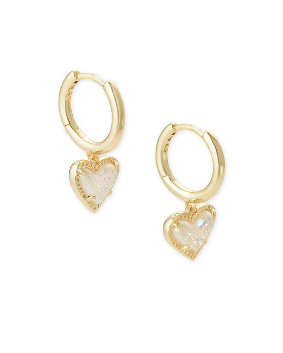 Ari Heart Huggie Earring in Gold Iridescent Drusy