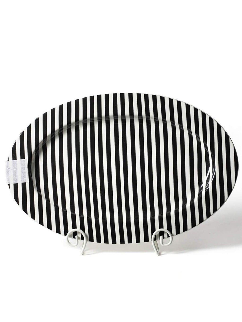 Black Stripe Happy Everything Oval Big Platter