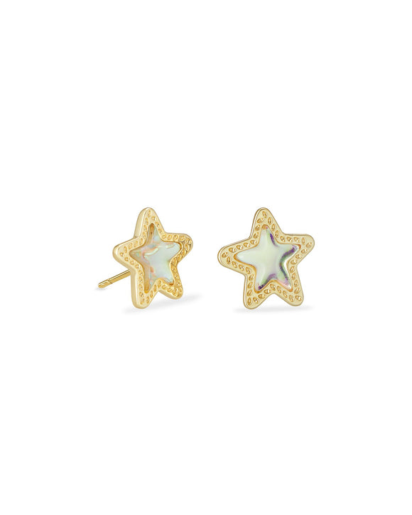 Jae Star Stud Earrings In Gold Dichroic Glass