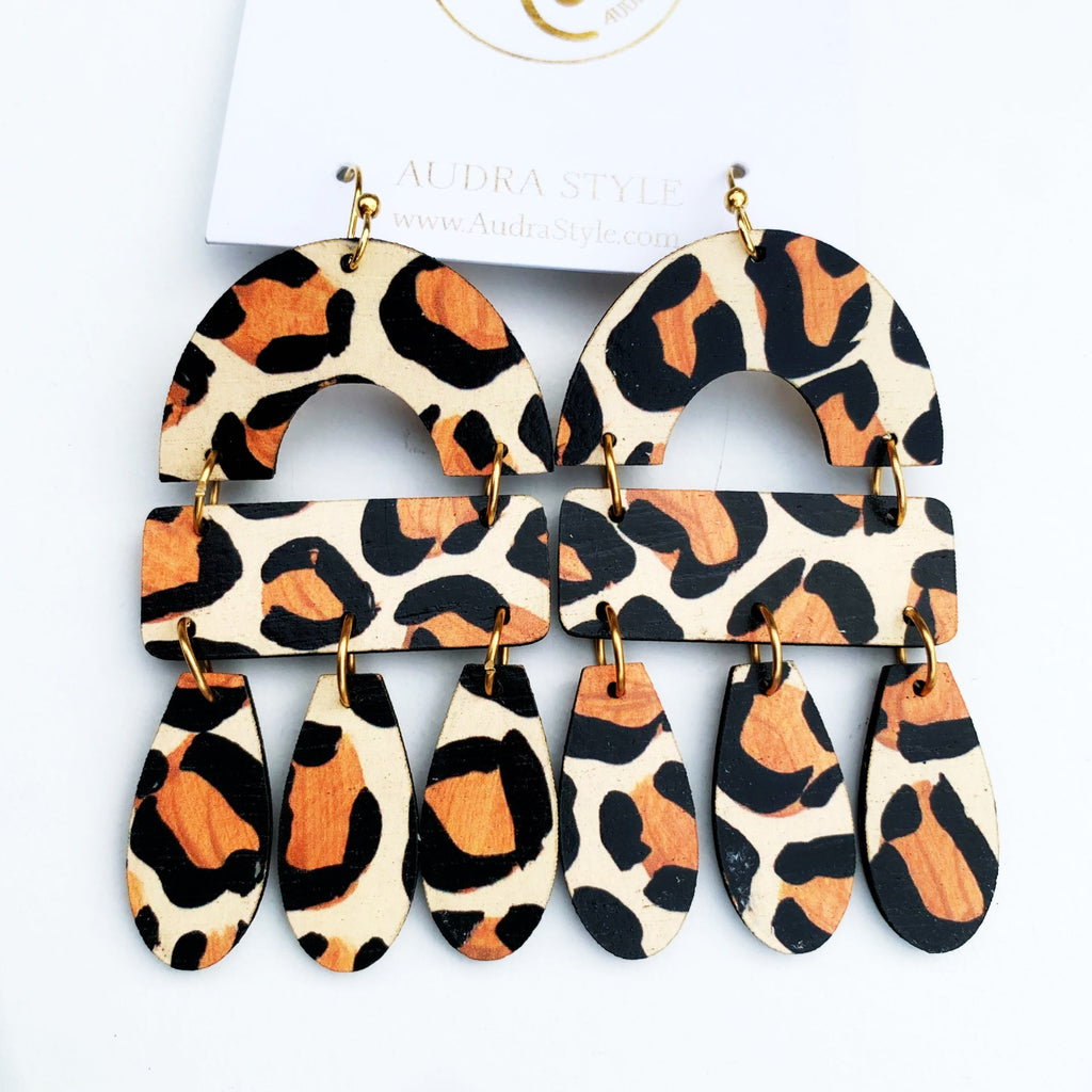 The Elizabeth Earrings in Leopard