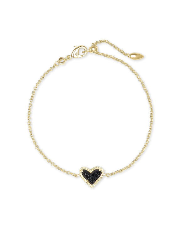 Ari Heart Bracelet in Gold Black Drusy