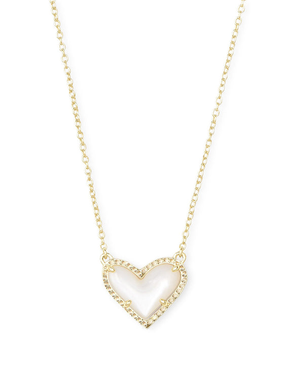 Ari Heart Gold Short Pendant in Ivory MOP