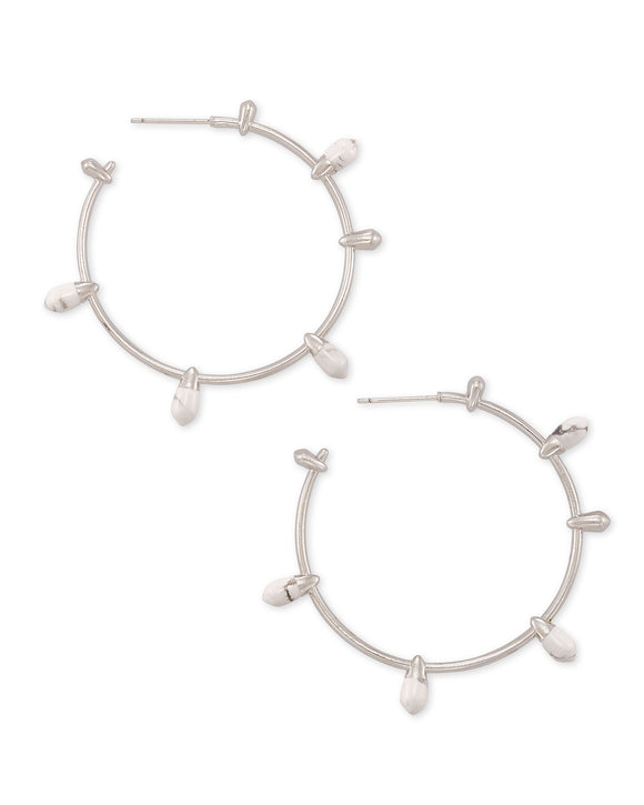 Freida Hoop Earring in Rhodium White Howlite