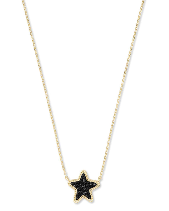 Jae Star Short Pendant Necklace in Gold Black Drusy