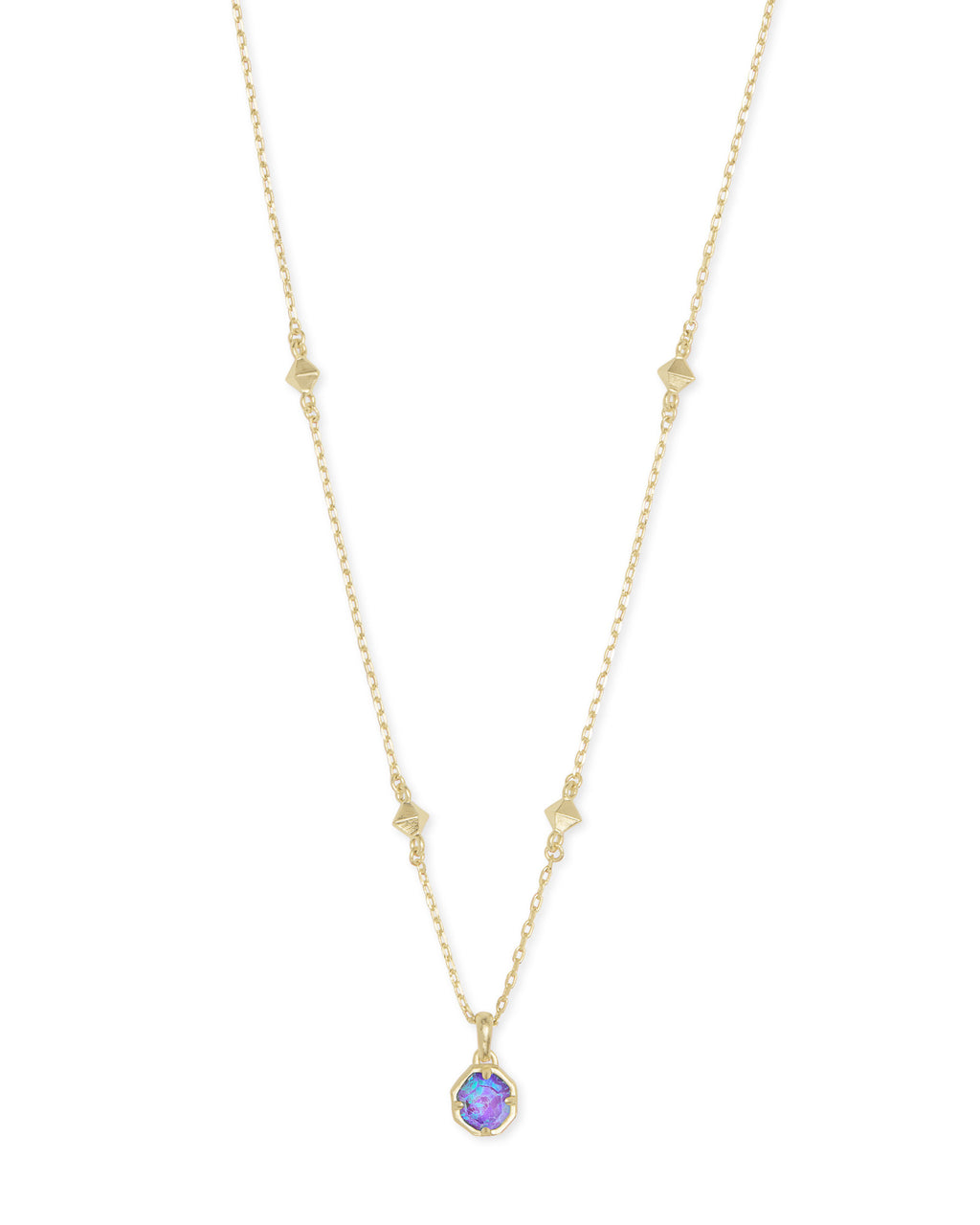 Nola Short Pendant in Gold Violet Opal Illusion