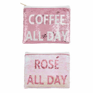 Coffee / Rose All Day Sequin Swipe Case