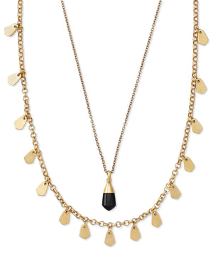 Freida Multi Strand Necklace in Vintage Gold Golden Obsidian