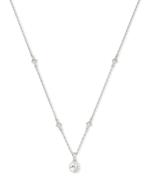 Nola Short Pendant Necklace in Rhodium White Howlite
