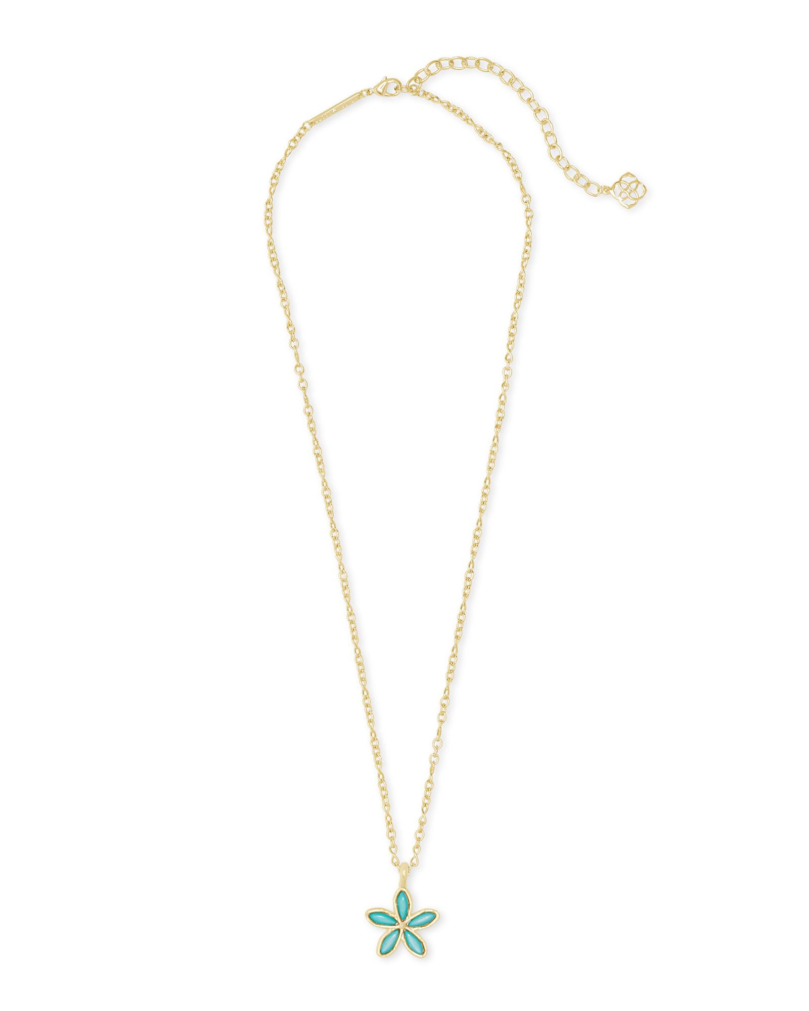 Kyla Flower Necklace in Gold Teal Mother of Pearl