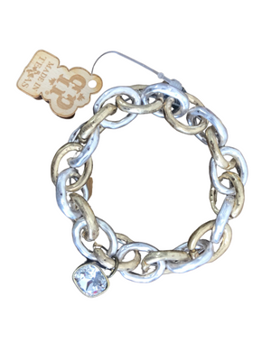 The Layla Link Bracelet in Clear Crystal