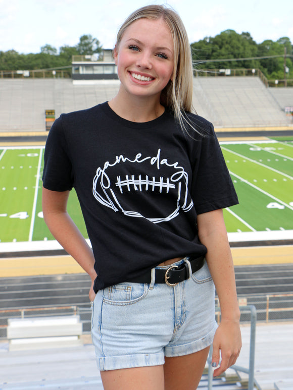 Game Day Football Tee in Black