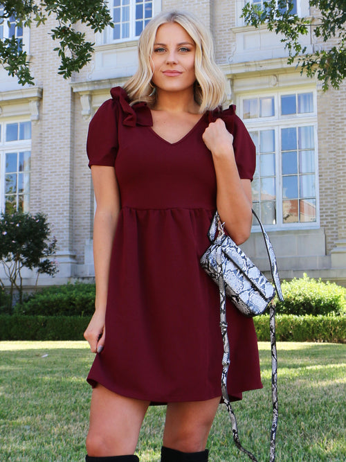 Gorgeous in Burgundy Dress