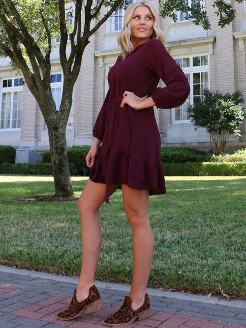 Flounce Around Dress in Plum