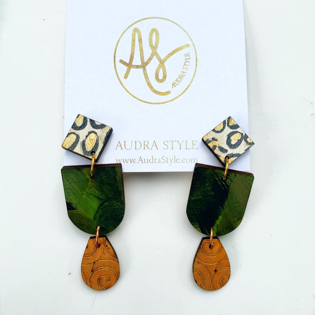 The Leah Earrings in Camo
