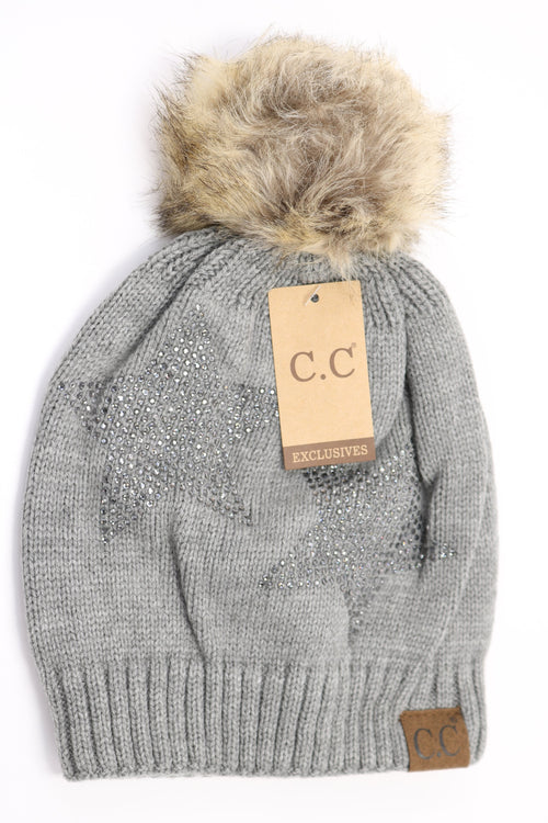 Rhinestone Star Beanie in Light Grey