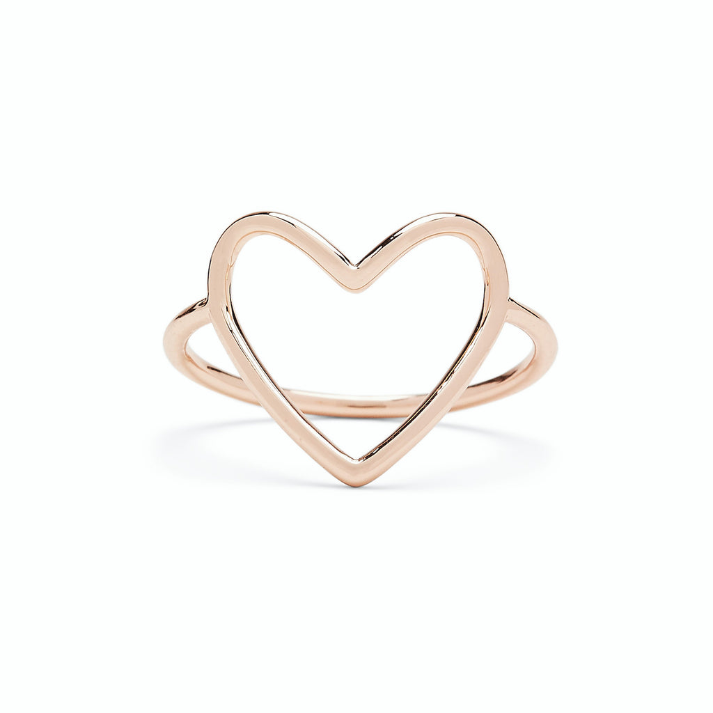 Big Heart Band Ring in Rose Gold