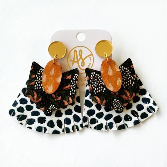 The Hazel Earrings in Gold Mirror and Black Dot
