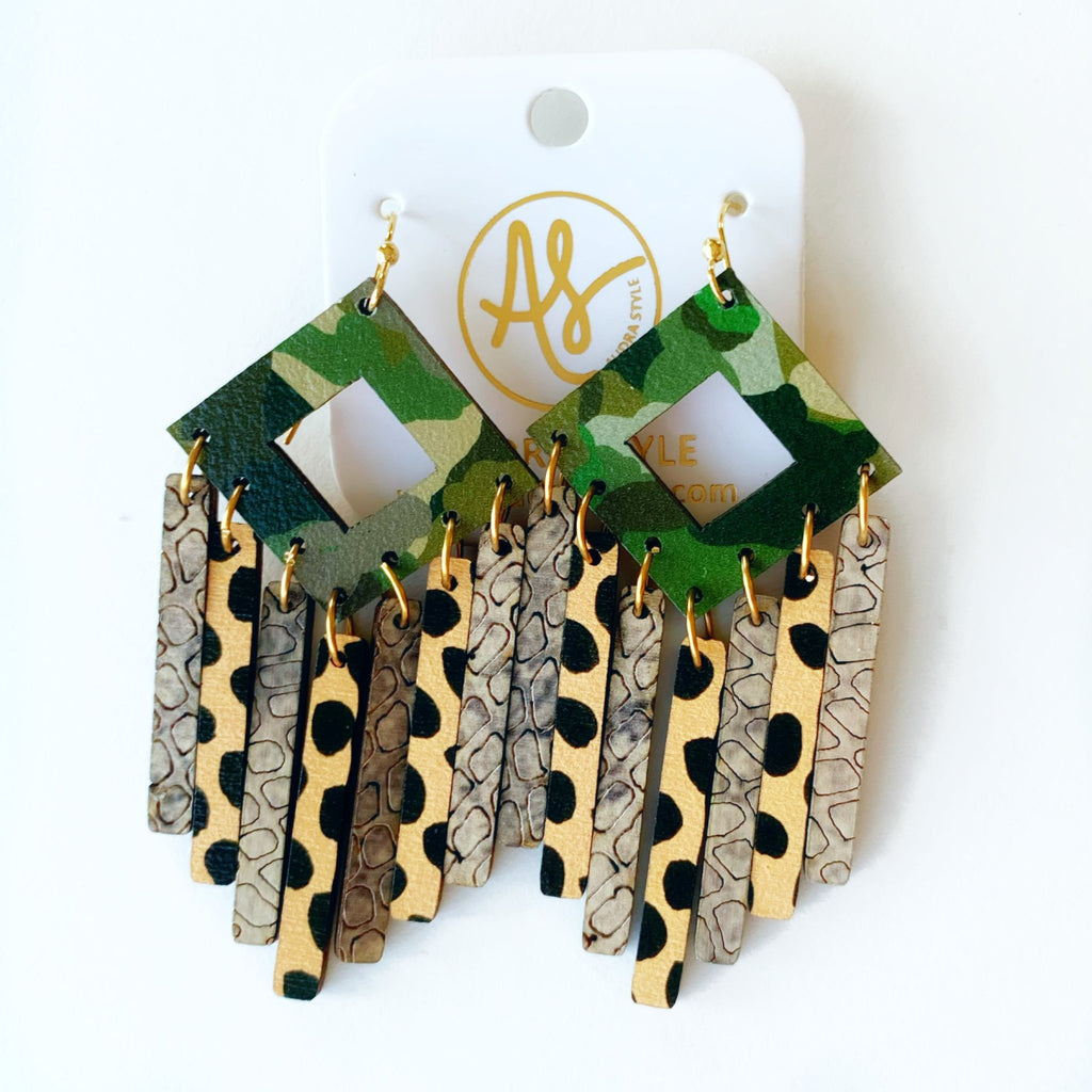 The Ethel Earrings in Camo Cheetah Dot