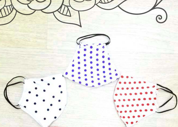 Kids Face Mask in Black Polka Dot