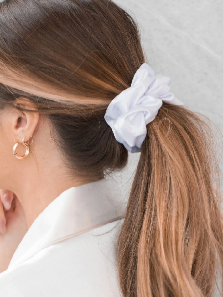 Caring for Me Satin Scrunchie in White