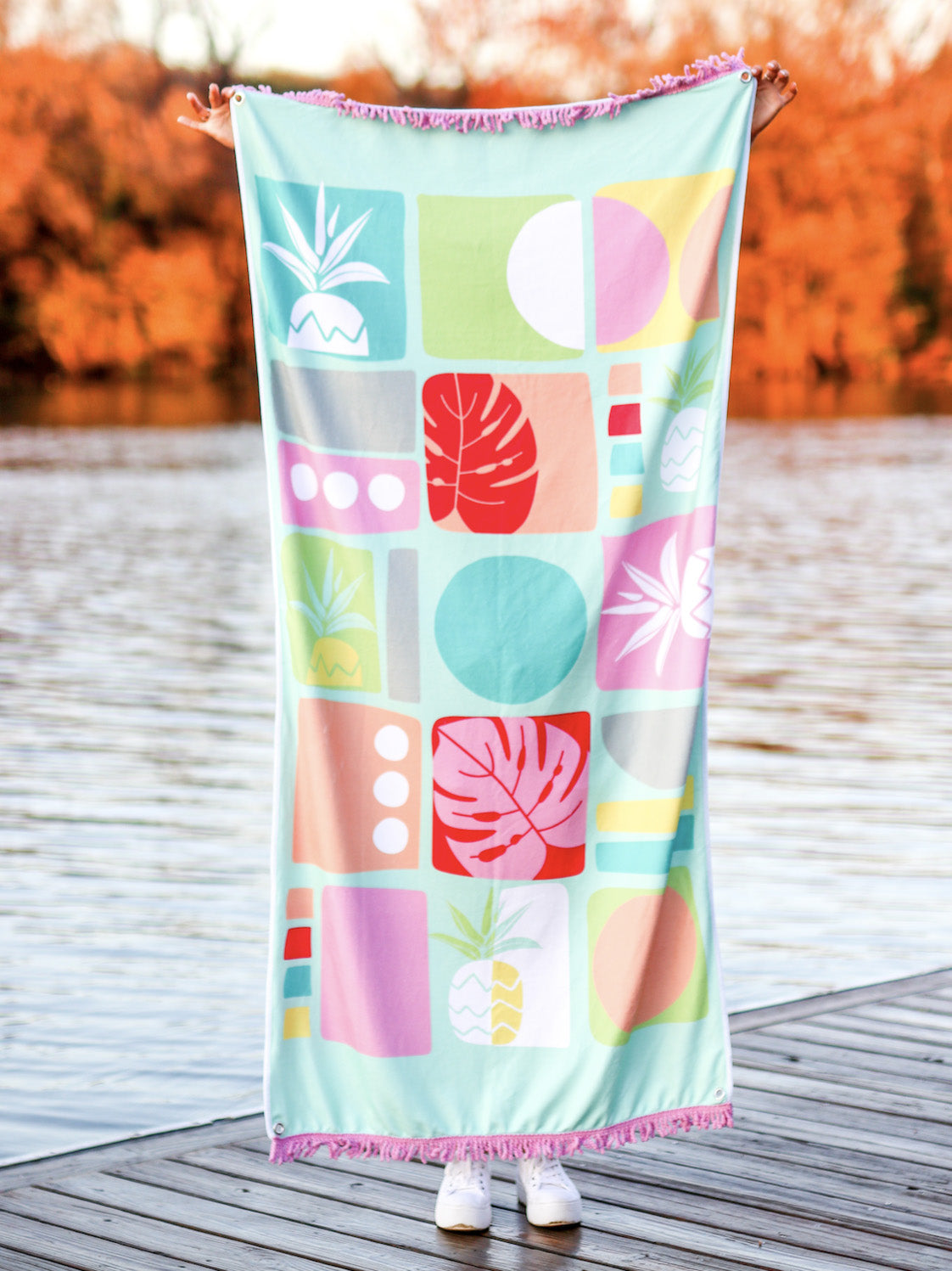Pineapple and Palm Leaves Towel