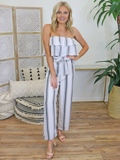 Sunday Best Striped Jumpsuit