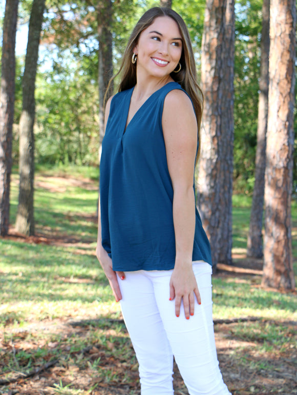 Talk Sleeveless To Me Tank in Teal