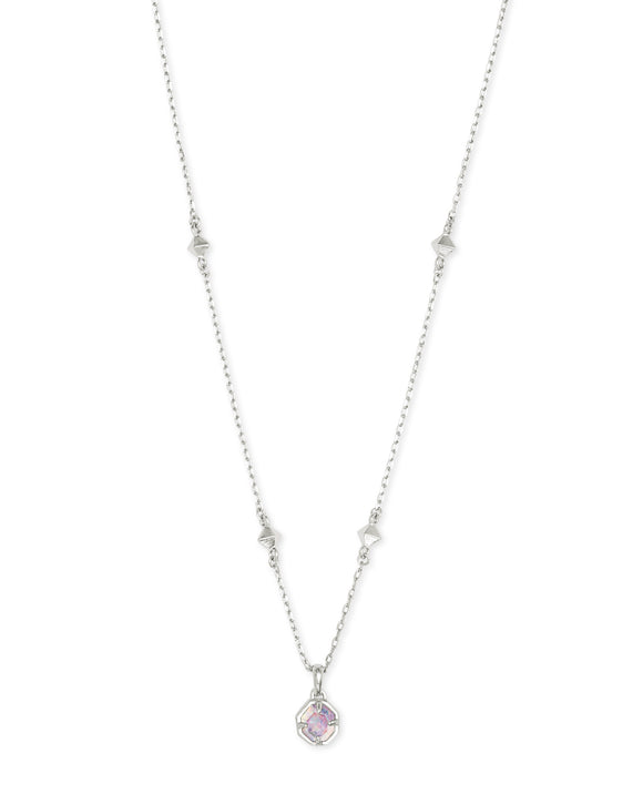 Nola Short Pendant in Rhodium White Opal Illusion