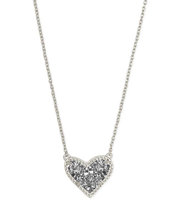 Ari Heart Gold Short Pendant in Rhodium Platinum Drusy