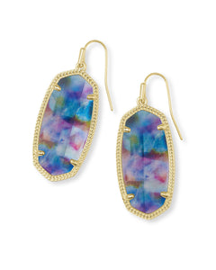 Elle Earring in Gold Teal Tie Dye Illusion