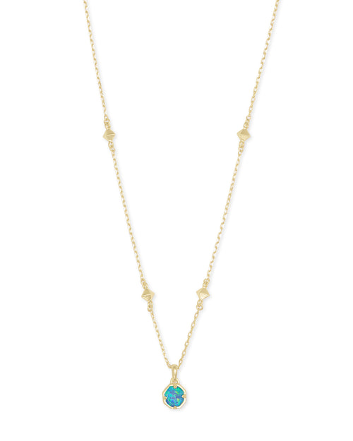 Nola Short Pendant in Gold Turquoise Opal Illusion