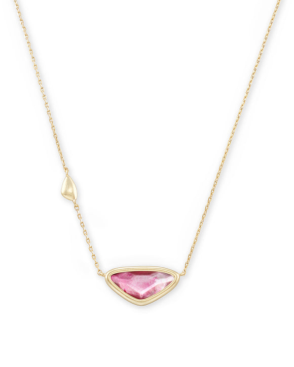 Margot Short Pendant Necklace in Gold Deep Blush MOP